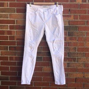 Just black white denim ripped jeans